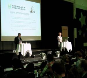 Åpning av Emballasjedagene 2014 ved styrelder Hans Jørgen Gulland og direktør Kari Bunes i Emballasjeforeningen.