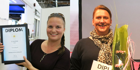 Kelly Hakkebo (t.v) og Kristin Stenholt mottar WorldStar i Budapest.