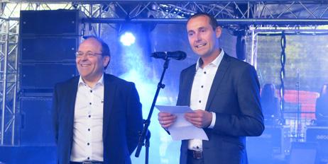 Josef Filtvedt (t.v.) og Henning Solberg feirer at Dynatec er 30 år.