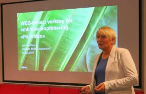 Miljøsjef i Bama Gruppen, Sylvia Lofthus, presenterte optimeringsverktøyet PackMan.