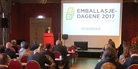 Styreleder Thomas Eie åpnet Emballasjedagene 2017.